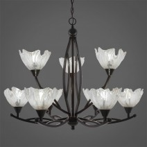 "Bow 9 Light Chandelier Shown In Black Copper Finish With 7"" Italian Ice Glass"