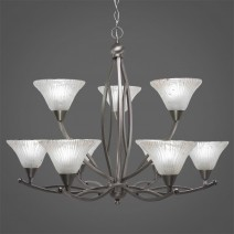 "Bow 9 Light Chandelier Shown In Brushed Nickel Finish With 7"" Frosted Crystal Glass"