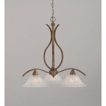 "Swoop 3 Light Chandelier Shown In Bronze Finish With 10"" Frosted Crystal Glass"