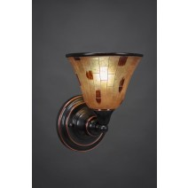 "Wall Sconce Shown In Black Copper Finish With 7"" Penshell Resin Shade"