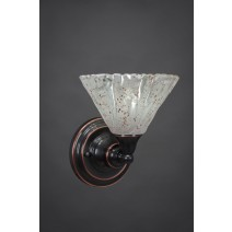 "Wall Sconce Shown In Black Copper Finish With 7"" Italian Ice Glass"