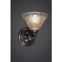 "Wall Sconce Shown In Black Copper Finish With 7"" Amber Crystal Glass"