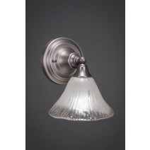 "Wall Sconce Shown In Brushed Nickel Finish With 7"" Frosted Crystal Glass"