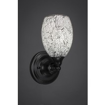 "Wall Sconce Shown In Matte Black Finish With 5"" Black Fusion Glass"