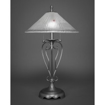 "Olde Iron Table Lamp Shown In Brushed Nickel With 16"" Frosted Crystal Glass"