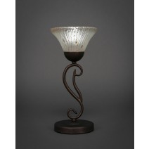 "Olde Iron Mini Table Lamp Shown in Bronze Finish With 7"" Frosted Crystal Glass"