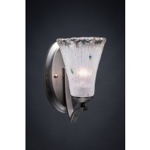 "Zilo Wall Sconce Shown In Graphite Finish With 5.5"" Fluted Frosted Crystal Glass"
