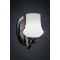 "Zilo Wall Sconce Shown In Matte Black Finish With 5.5"" Zilo White Linen Glass"