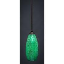 """Zilo Stem Mini Pendant Shown In Dark Granite Finish With 5.5"""" Green Fusion Glass"""