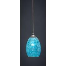 "Zilo Stem Mini Pendant Shown In Graphite Finish With 5"" Turquoise Fusion Glass"