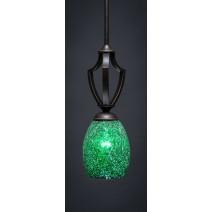 """Zilo Stem Mini Pendant Shown In Dark Granite Finish With 5"""" Green Fusion Glass"""
