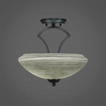 "Zilo Semi Flush With 2 Bulbs Shown In Matte Black Finish With 14"" Zilo Gray Linen Glass"