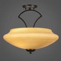 """Zilo Semi Flush With 3 Bulbs Shown In Dark Granite Finish With 18"""" Zilo Cayenne Linen Glass"""