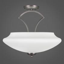 """Zilo Semi Flush With 3 Bulbs Shown In Graphite Finish With 18"""" Zilo White Linen Glass"""
