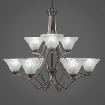 "Zilo 9 Light Chandelier Shown In Graphite Finish With 7"" Frosted Crystal Glass"