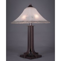 Apollo Table Lamp Shown In Dark Granite Finish With Square Frosted Crystal Glass