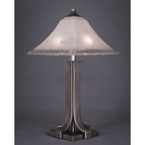 Apollo Table Lamp Shown In Graphite Finish With Square Frosted Crystal Glass