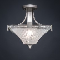 Apollo Semi-Flush With 2 Bulbs Shown In Graphite Finish With Frosted Crystal Glass