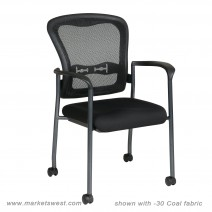 Titanium Finish Visitors Chair with Arms, Coal