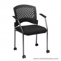 Titanium Finish Rolling Black Visitors Chair, Custom A Grade Fabric