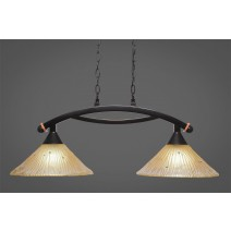 "Bow 2 Light Island Light Shown In Black Copper Finish With 12"" Amber Crystal Glass"