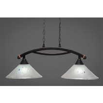 "Bow 2 Light Island Light Shown In Black Copper Finish With 12"" Frosted Crystal Glass"