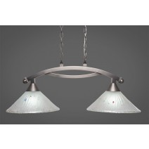 "Bow 2 Light Island Light Shown In Brushed Nickel Finish With 12"" Frosted Crystal Glass"