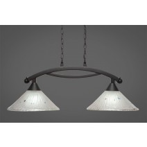 "Bow 2 Light Island Light Shown In Dark Granite Finish With 12"" Frosted Crystal Glass"