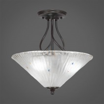 "Capri 3 Bulb Semi-Flush Shown In Dark Granite With 16"" Frosted Crystal Glass"