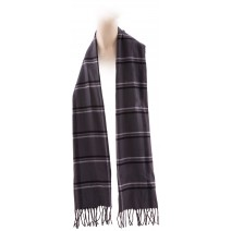 Cashmere Feel Plaid Scarves(New England Plaid) - Black Grey