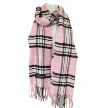Cashmere Feel Plaid Scarvesnew England Plaid - Pink