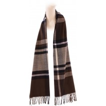 Cashmere Feel Plaid Scarves(New England Plaid) - Tan Brown
