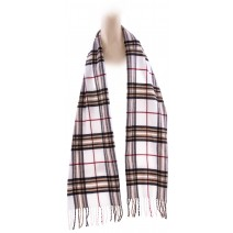 Cashmere Feel Plaid Scarves(New England Plaid) - White