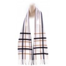 Cashmere Feel Plaid Scarves(New England Plaid) - White & Black