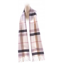 Cashmere Feel Plaid Scarves(New England Plaid) - White & Pink