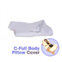 Deluxe Comfort Cover For C Shaped Full Body Pillow - Stain-Resistant - 50% Polyester/25% Rayon/25% Cotton - Allergen-Free - Pillow Cover, White