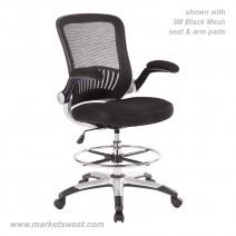 Mesh Back Drafting Chair, (-U6) Black Faux Leather