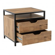 Quinton 2-Drawer Nightstand in Salvage Oak Finish and Matte Black Coating, Fully Assembled