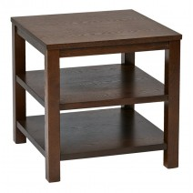 "Work Smart Merge 20"" Square End Table. Espresso Finish."