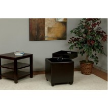 Storage Ottoman with Tray in Espresso Bonded Ther