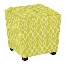 2 Piece Ottoman Set with Tray Top in Abby Geo Grey Fabric