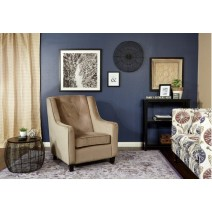 Curves Tufted Back Armchair with Coffee Velvet Easy-Care Fabric and Solid Wood Espresso Finish Legs