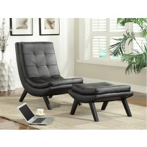 Tustin Lounge Chair and Ottoman Set With Black Faux Ther Fabric and Black Legs