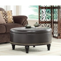 Augusta Round Storage Ottoman in Espresso Bonded Ther with Decorative Nailheads