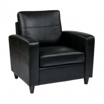 Osp Furniture Black Bonded Ther Club Chair With Espresso Finish Legs
