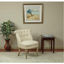 Aubrey Tufted Side Chair With Rice Paper Fabric and Brushed Legs
