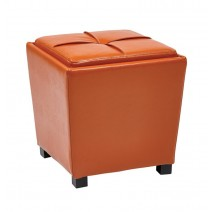 2 Piece Ottoman Set in Orange Vinyl