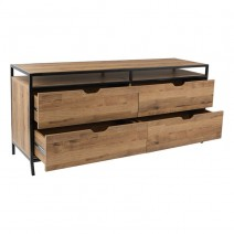 Quinton 4-Drawer Dresser in Salvage Oak with Matte Black Coating, Fully Assembled