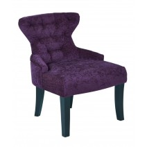 Curves Hour Glass Accent Chair in Walker Grape Fabric with Espresso Legs