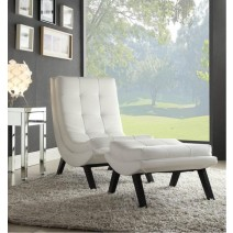 Tustin Lounge Chair and Ottoman Set With White Faux Ther Fabric and Black Legs